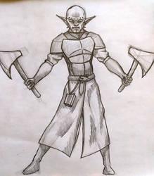 Orcish Warrior Sketch by F3RYX