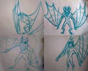 Man-Bat sketches by F3RYX