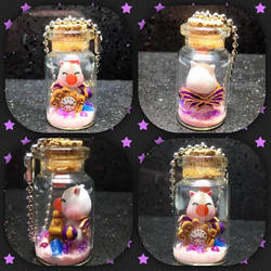 Polymer clay Moogle Bottle Charm by Brownie314