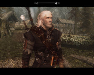 Skyrim - Witcher 3/Geralt (screenshot) by AngelGabryel