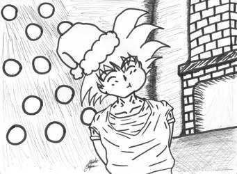Goku eating Christmas candy by AnimeChunks