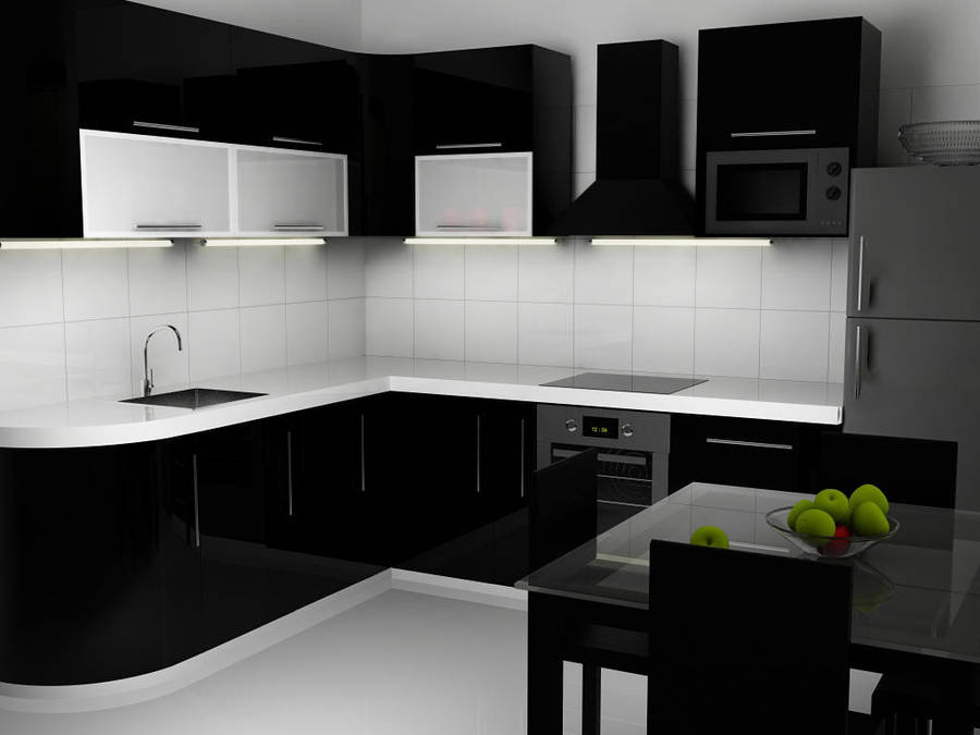Black N White Kitchen Interior By Voserna