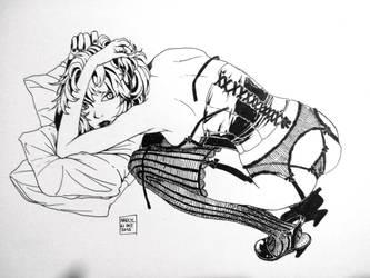 [Inktober] Lady in lingerie by Maiden-In-Black