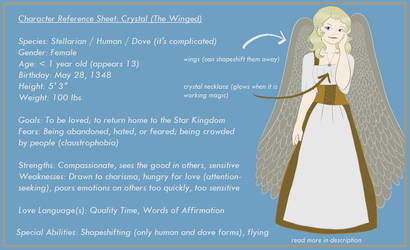 Character Reference Sheet: Crystal (The Winged) by LilyCalico17