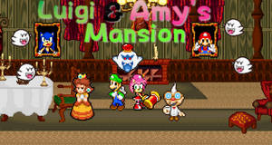 Luigi and Amy's Mansion Poster by sonicmechaomega999