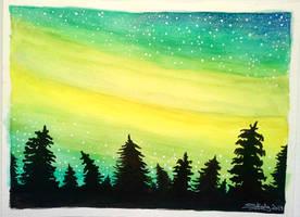 Yellow aurora by Shesvii