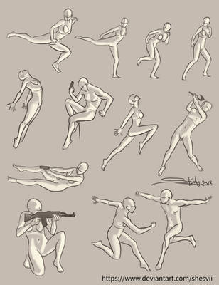Action poses reference sheet by Shesvii