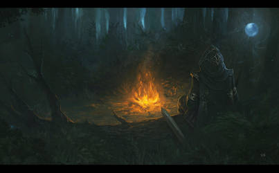 Campfire - Painting for Archmage Rises by RogierB