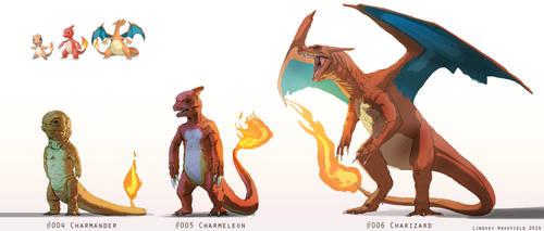 Pokemon: Charmander, Charmeleon, and Charizard by LindseyWArt