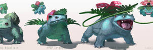 Pokemon: Bulbasaur, Ivysaur, Venusaur by LindseyWArt