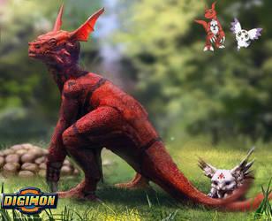 Digimon: Guilmon and Calumon by LindseyWArt