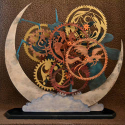 Nighmare Moon themed wooden clock (Almost) by weRDunfo