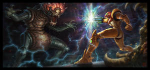 Samus VS. Motherbrain by VegasMike