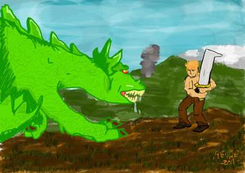 Dragon vs. Man by ComicAenne