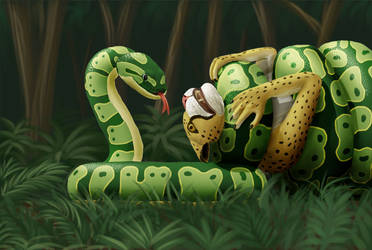 Khajiit and snake by firstbox