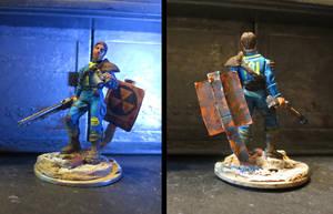 Fallout 3's Lone Wanderer in 28mm heroic scale by JordanGreywolf