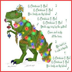 2017 Christmas Card Design - Christmas T-Rex by JordanGreywolf