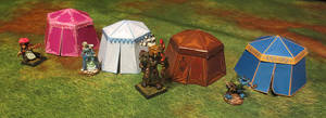 Kingmaker Papercraft Pavilion Tents by JordanGreywolf