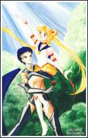 Sailor Moon :: Seiya and Usagi by maria-jaujou