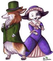 Corgi Gent and Corgi Lady by Skribbles