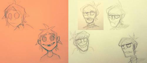 Gorillaz warmup doodles by Ashesfordayz