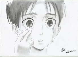 Eren crying by StrawberriNinja