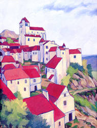 Village Painting by Alexi-C