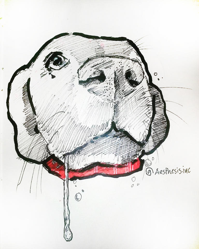 INKTOBER 2018 DAY 6 DROOLING by Aesthesis-Inc