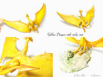 Golden Dragon with rocky nest 2 by rosepeonie