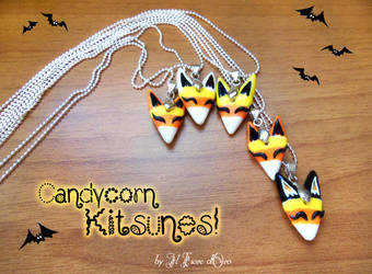 Candycorn Kitsune necklaces by rosepeonie