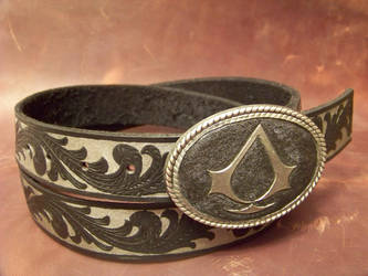 assassins creed belt and buckle by MerrillsLeather