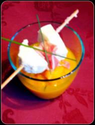 Verrine de carottes et brochette de porc mozza by EmiEmo02