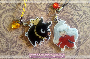 Inuyasha and P-chan acrylic charms by Joichiroll