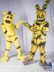 springtrap cosplay and Golden Freddy cosplay by brnnightmare