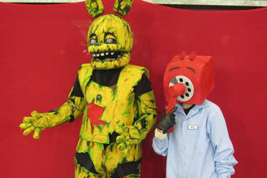Springtrap cosplay and Phone Guy cosplay by brnnightmare