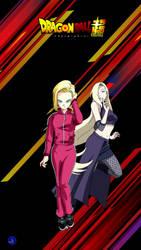 Android 18 and Ino Yamanaka by luckyal77