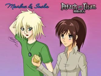 Markus (Attack on Titan OC) and Sasha by Zer0-Stormcr0w