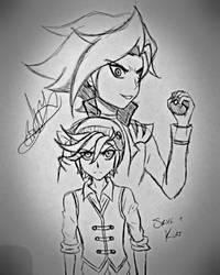 'Nemesis' - Skye and Kurt (Pokemon OC's) (Sketch) by Zer0-Stormcr0w