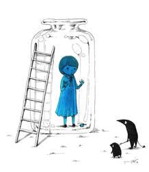Blue girl in the bottle by spowys