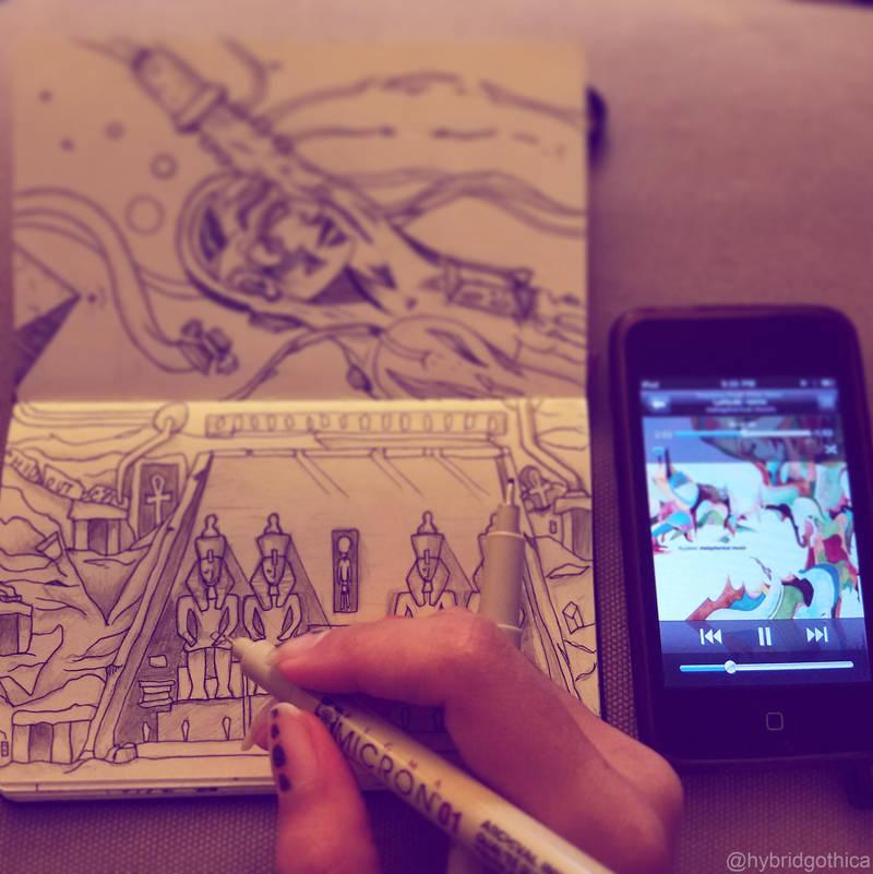 Doodle - Abu Simbel by hybridgothica