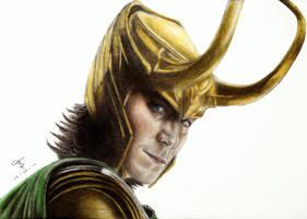 Tom Hiddleston as Loki by tanjadrawing