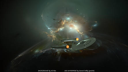 Antartica Nebula and Enterprise by gmd3d