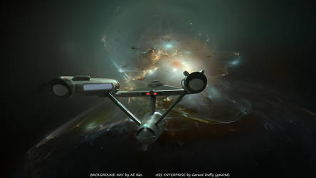 Antartica Nebula and the Enterprise by gmd3d