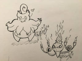 Pumpkaboo and Chandelure [request] by MyLittleJewMonster