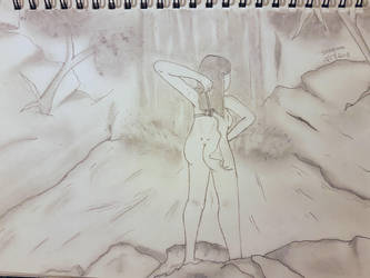 Waterfall girl. Complete Female Drawing by NatCanDo