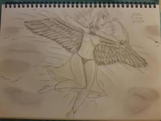Bow Wielding Angel. Cupid Angel. Full Body Drawing by NatCanDo