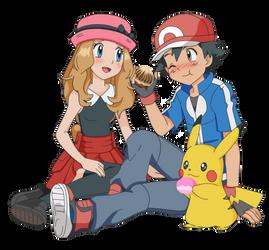 AmourShipping - Satoshi and Serena Poffles by Lunariasu