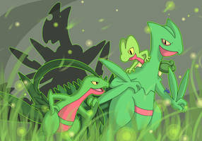 [SpeedArt] Pokemon: Treecko, Grovyle. Sceptile by JaidenAnimations