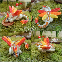Spitfire the polymer clay dragon by TinyBlissfulness