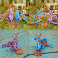 Lilac and Blueberry the Polymer Clay Dragons by TinyBlissfulness